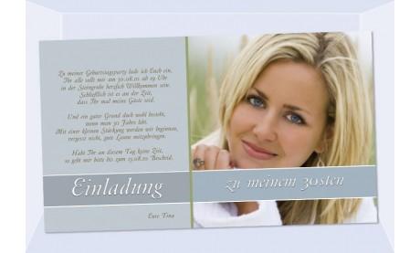 "Einladung Geburtstag ""Tina"", Fotokarte 10x18 cm, taube"