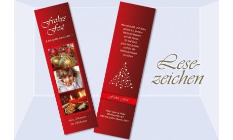 Lesezeichen Weihnachten, 5x20 cm, rot