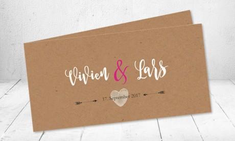 Einladungskarte Hochzeit, Vintage Kraftpapier