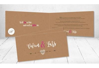 Einladungskarte Hochzeit Vintage Kraftpapier