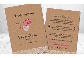 """Moderne Vintage Hochzeitseinladungen """"Wir sagen Ja"""""""