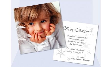 Flachkarte Weihnachten, Weihnachtskarte 2-seitig, 12,5x12,5 cm, weiß