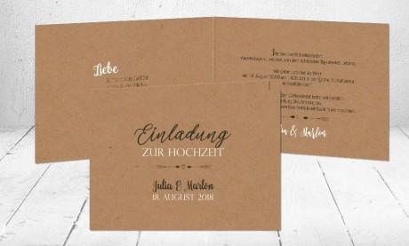 Einladungskarte Hochzeit  Kraftpapier Vintage diy