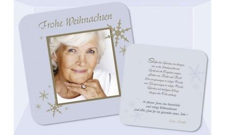 Flachkarte Weihnachten, Weihnachtskarte 2-seitig, 12,5x12,5 cm, taubenblau