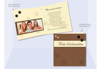 Klappkarte Weihnachten, Weihnachtskarte Quadrat, 12,5x12,5 cm, 4-seitig, braun beige