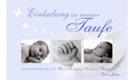 """Einladung Taufe """"Julian"""", Taufeinladung, Fotokarte 10x15 cm, hellblau"""