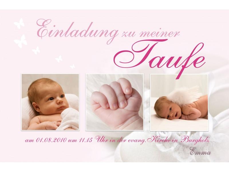Einladung Taufe, Taufeinladung, Fotokarte 10x15 Cm, Hellblau, Einladungs