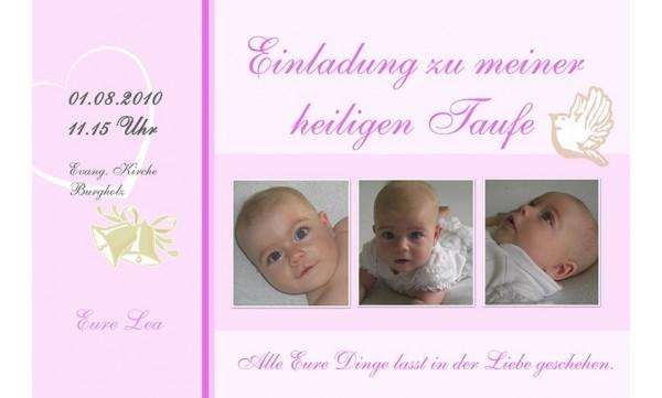 "Einladung Taufe ""Lea"", Taufeinladung, Fotokarte 10x15 cm, rosa"