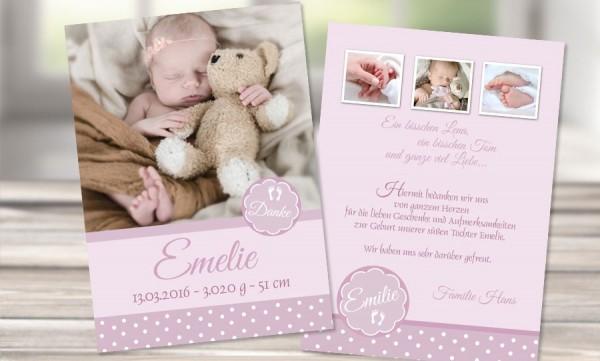 "Dankeskarte Geburt ""rosa Pünktchen"""
