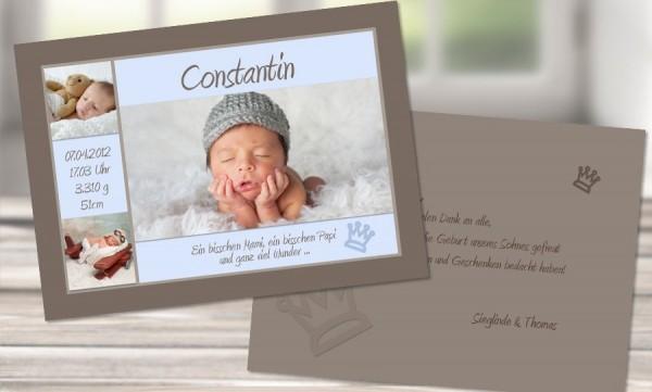 "Dankeskarte Geburt DIN A6 ""Kleiner Prinz"""