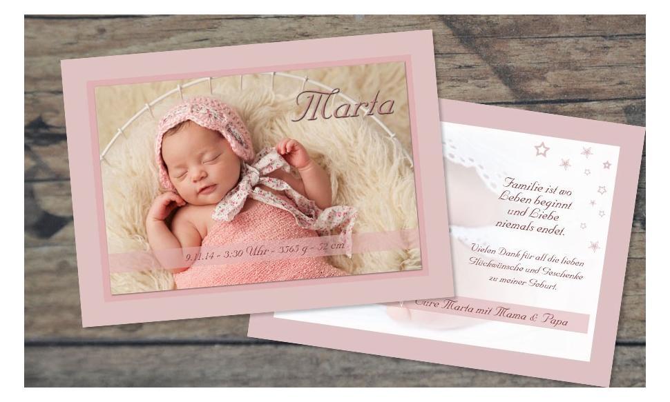 """Dankeskarte Geburt """"Vintagebaby"""""""