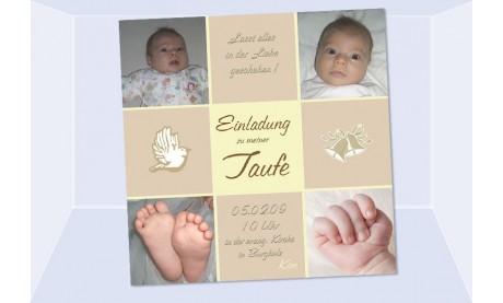 "Einladung Taufe ""Kim"", Taufeinladung, Fotokarte 10x10 cm, beige"