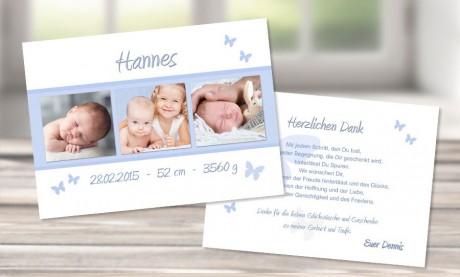Danksagungskarte zur Geburt in blau, Flachkarte