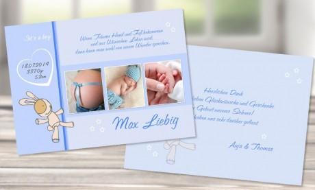 "Danksagungskarte, Karte zur Geburt DIN A6 ""Max"" hellblau"