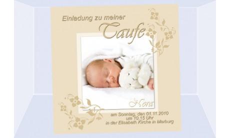 """Einladung Taufe """"Nora"""", Taufeinladung, Fotokarte 12,5x12,5 cm, beige"""