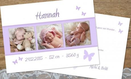 "Dankeskarte Geburt ""Schmetterling"" 10x15 cm"