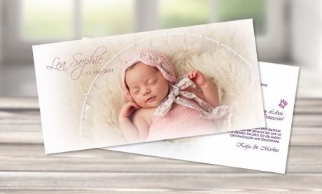 """Danksagungskarte zur Geburt, """"Nostalgie"""" in rosa"""