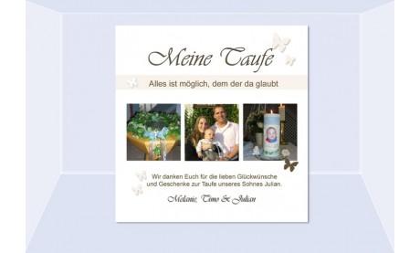 """Danksagung Taufe """"Julian"""", Taufkarte, Fotokarte 10x10 cm, beige"""
