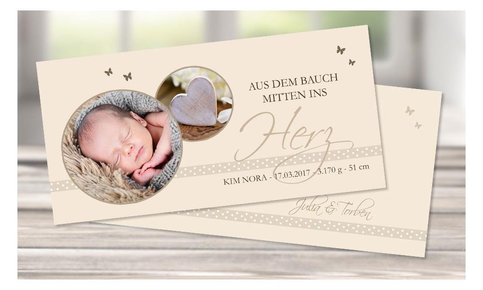 """Danksagungskarte zur Geburt, """"Mitten ins Herz"""" in creme"""
