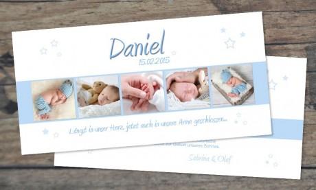 """Danksagungskarten Geburt, """"Sonnenschein"""" DIN Lang"""