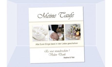 "Danksagung Taufe ""Nadine"", Taufkarte, Fotokarte 10x10 cm, beige"