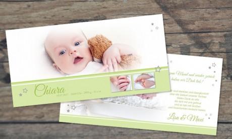 """Danksagungskarte zur Geburt """"Gelassenheit"""" in beere"""