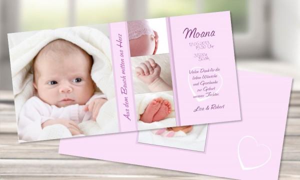 "Danksagungskarte zur Geburt, ""Moana"" in creme"
