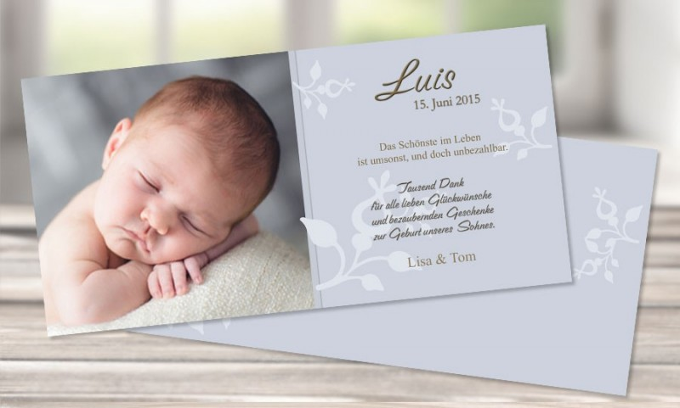 "Danksagungskarte zur Geburt, ""LaLeLu"""
