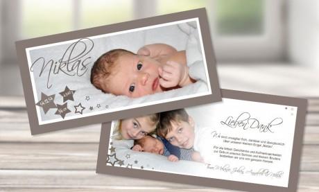 """Danksagungskarte zur Geburt """"Sternchen"""" taupe"""