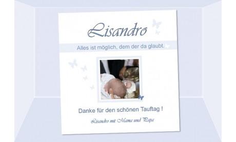 "Danksagung Taufe ""Lisandro"", Taufkarte, Fotokarte 10x10 cm, beige"