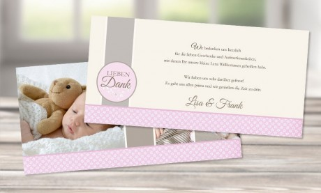 "Danksagungskarte zur Geburt ""Leni im Vintagelook"" altrosa"