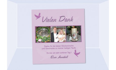 "Danksagung Taufe ""Annabell"", Taufkarte, Fotokarte 10x10 cm, rosa"