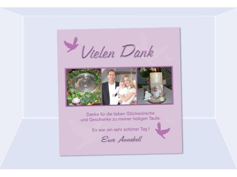 Danksagung Taufe, Taufkarte, Fotokarte 10x10 cm, rosa