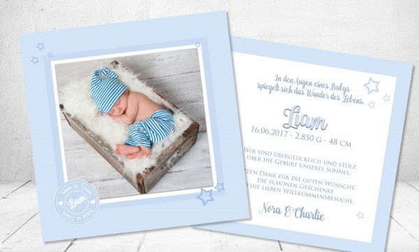 """Babykarte, Danksagung Geburt """"Button"""""""