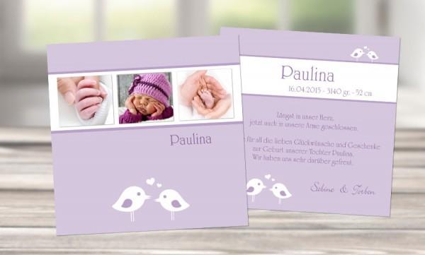 """Babykarte, Danksagung Geburt """"Mia-Sophie"""", rosa Vögelchen"""