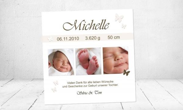 """Danksagung Geburt """"Michelle"""", Geburtskarte, 10x10 cm, creme"""