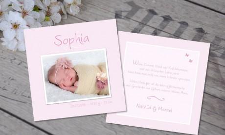 """Babykarte, Danksagung Geburt """"Valentina"""", zweiseitig Quadrat"""