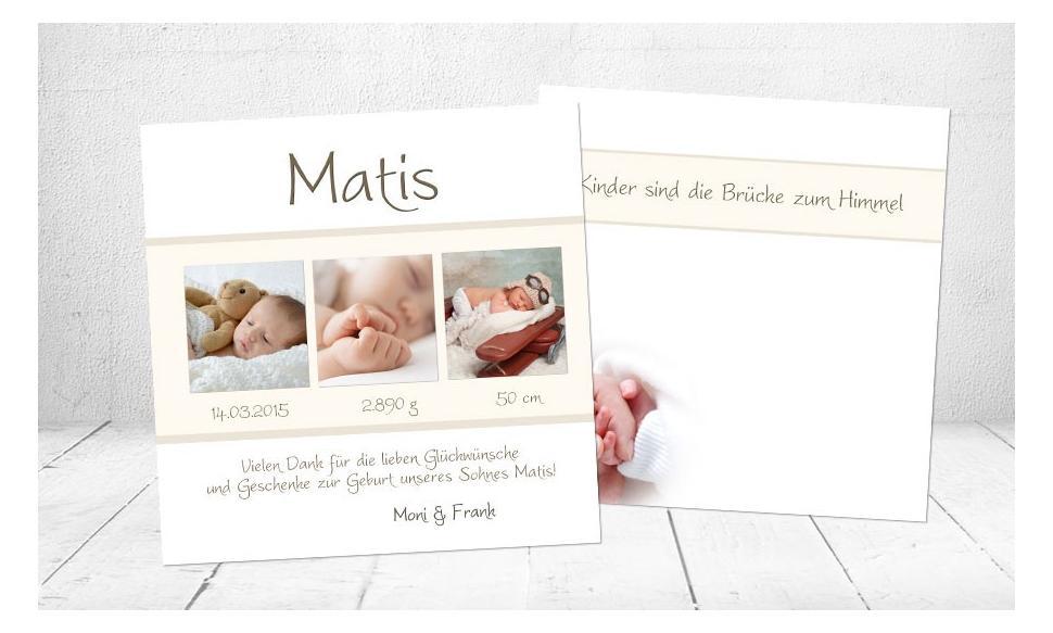 "Babykarte, Danksagung Geburt ""Matea"", rosa"