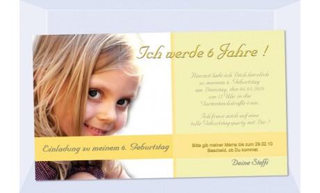 """Einladung Kindergeburtstag """"Steffi"""", Fotokarte 10x18 cm, gelb"""