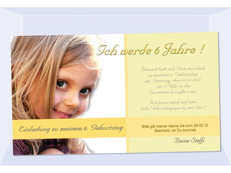 einladungskarte kindergeburtstag fotokarte 10x18 cm gelb. Black Bedroom Furniture Sets. Home Design Ideas