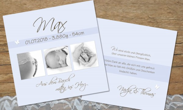 """Danksagungskarte Geburt """"Max"""", hellblau"""