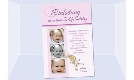"Einladung Kindergeburtstag ""Hase"", Fotokarte 10x15 cm, rosa"