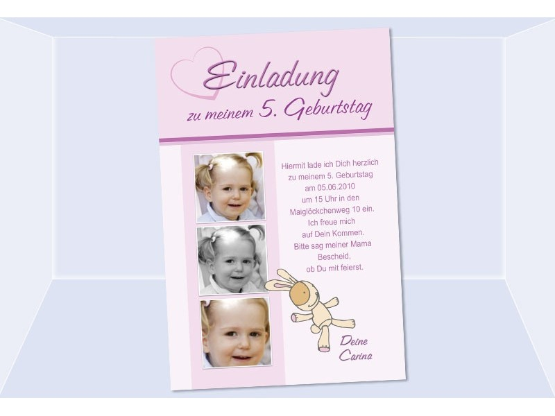 Einladung, Geburtstag, Kindergeburtstag, Fotokarte 10x15 cm, rosa ...