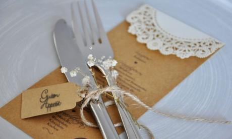 Menükarte Hochzeit Vintage Lasercut