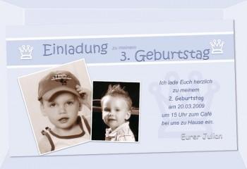 "Einladung Kindergeburtstag ""Prinz"", Fotokarte 10x18 cm, hellblau"