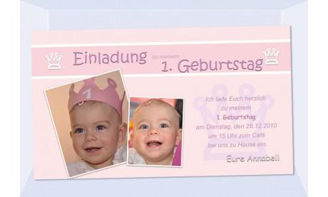 """Einladung Kindergeburtstag """"Prinzessin"""", Fotokarte 10x18 cm, rosa"""