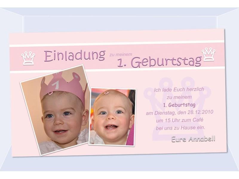 Kindergeburtstag Einladung Geburtstag Fotokarte Prinzessin Rosa