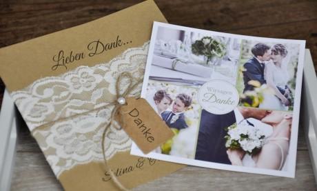 Danksagungskarten Hochzeit Vintage Spitze