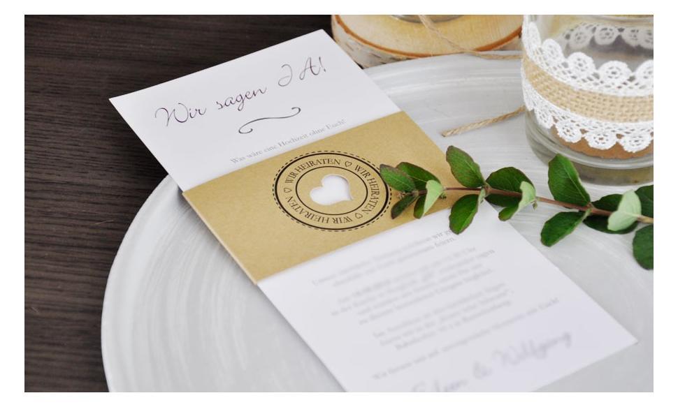 """Moderne Hochzeitseinladung """"Diy Kraftpapier Banderole"""""""