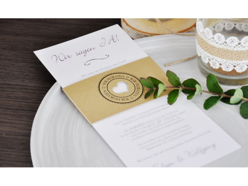 Moderne Hochzeitseinladung Diy Kraftpapier Banderole